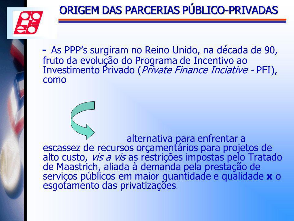 ORIGEM DAS PARCERIAS PÚBLICO-PRIVADAS - As PPPs surgiram no Reino Unido, na década de 90, fruto da evolução do Programa de Incentivo ao Investimento P
