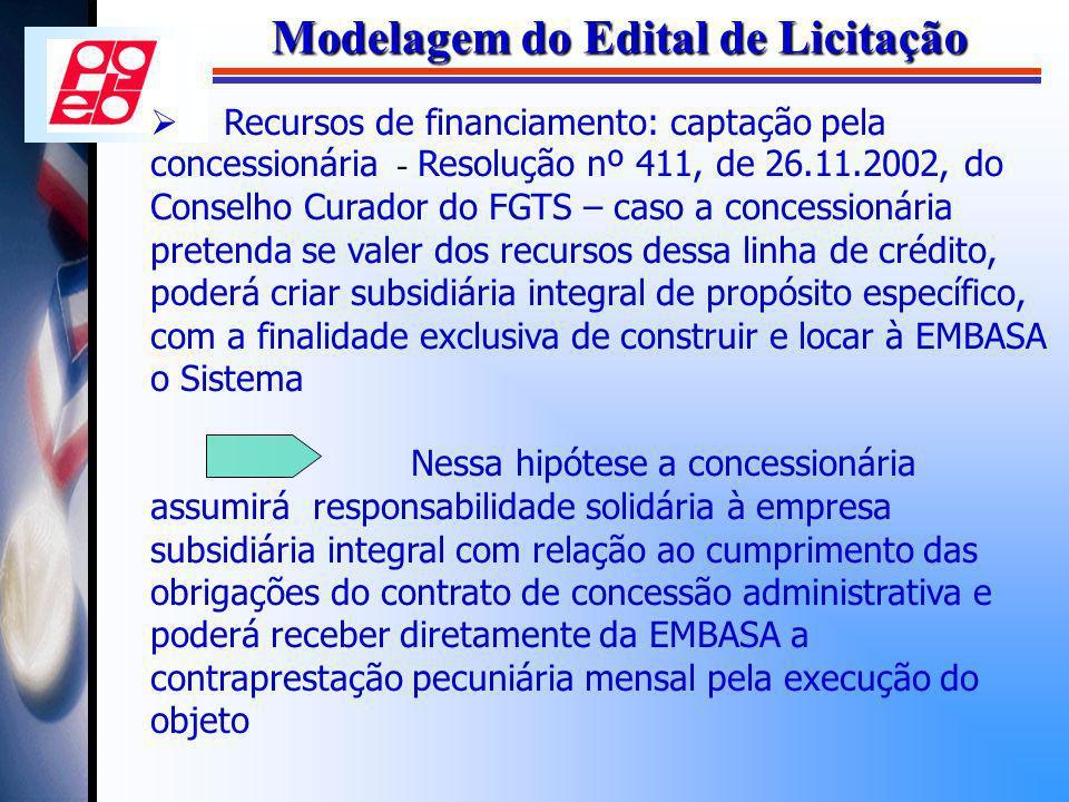 Modelagem do Edital de Licitação Recursos de financiamento: captação pela concessionária - Resolução nº 411, de 26.11.2002, do Conselho Curador do FGT