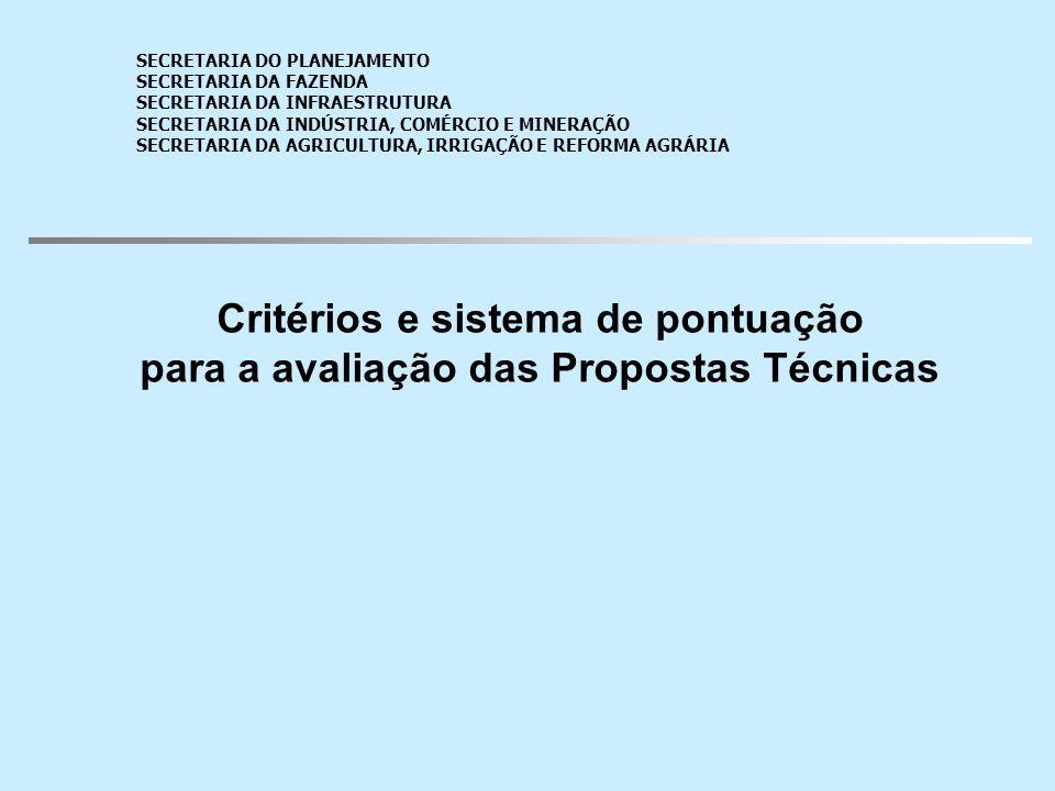 Critérios e sistema de pontuação para a avaliação das Propostas Técnicas Pontuação técnica mínima requerida para a qualificação da empresa: 70 pontos SECRETARIA DO PLANEJAMENTO SECRETARIA DA FAZENDA SECRETARIA DA INFRAESTRUTURA SECRETARIA DA INDÚSTRIA, COMÉRCIO E MINERAÇÃO SECRETARIA DA AGRICULTURA, IRRIGAÇÃO E REFORMA AGRÁRIA