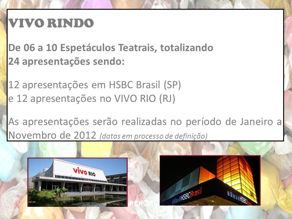 VIVO RINDO De 06 a 10 Espetáculos Teatrais, totalizando 24 apresentações sendo: 12 apresentações em HSBC Brasil (SP) e 12 apresentações no VIVO RIO (RJ) As apresentações serão realizadas no período de Janeiro a Novembro de 2012 (datas em processo de definição)