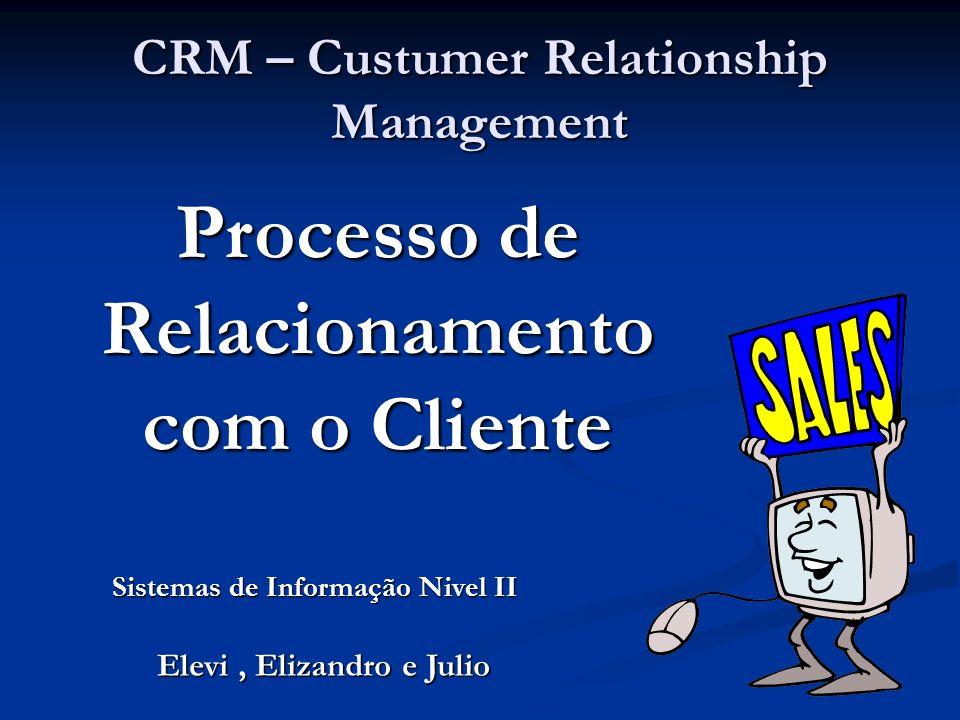 CRM – Custumer Relationship Management Processo de Relacionamento com o Cliente Elevi, Elizandro e Julio Sistemas de Informação Nivel II