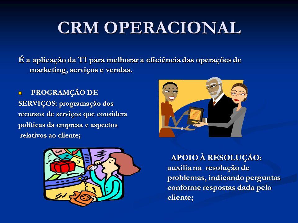CRM OPERACIONAL É a aplicação da TI para melhorar a eficiência das operações de marketing, serviços e vendas.