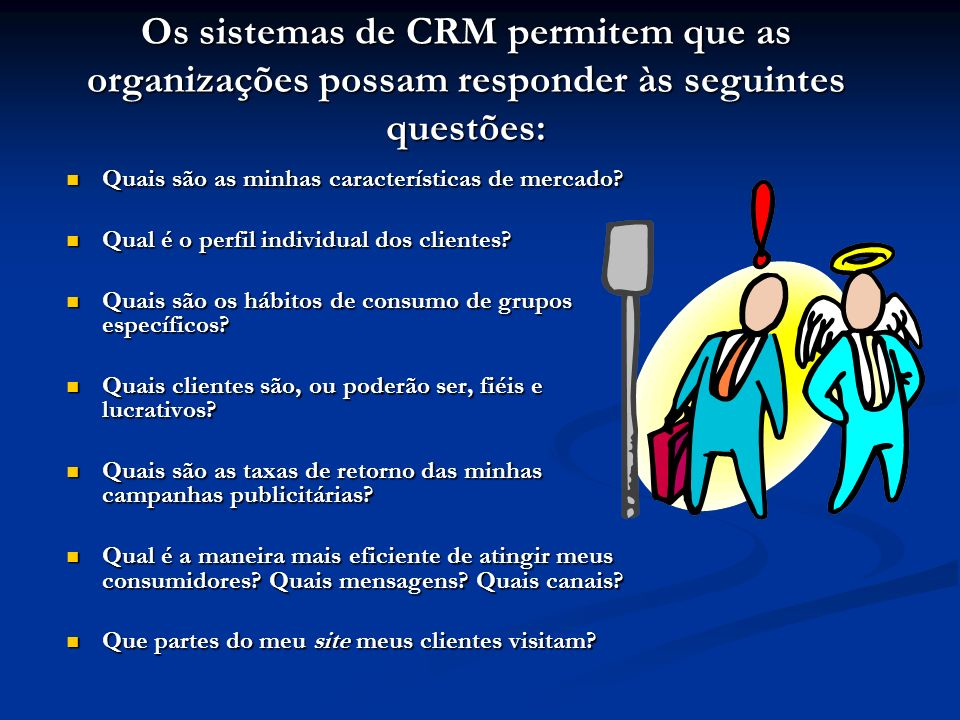 Os sistemas de CRM permitem que as organizações possam responder às seguintes questões: Quais são as minhas características de mercado.