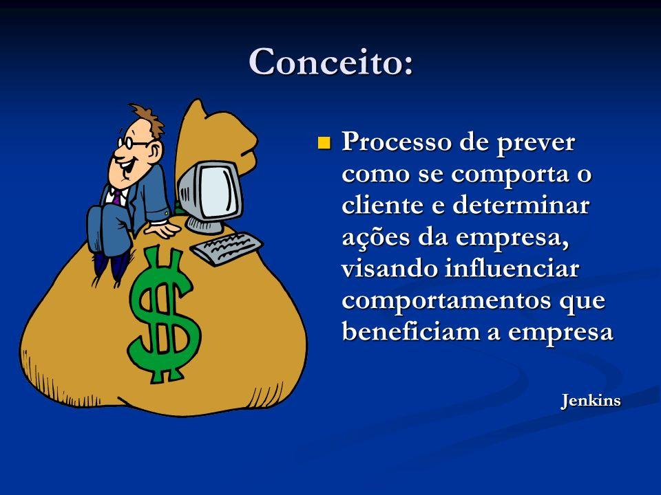Conceito: Processo de prever como se comporta o cliente e determinar ações da empresa, visando influenciar comportamentos que beneficiam a empresa Processo de prever como se comporta o cliente e determinar ações da empresa, visando influenciar comportamentos que beneficiam a empresaJenkins