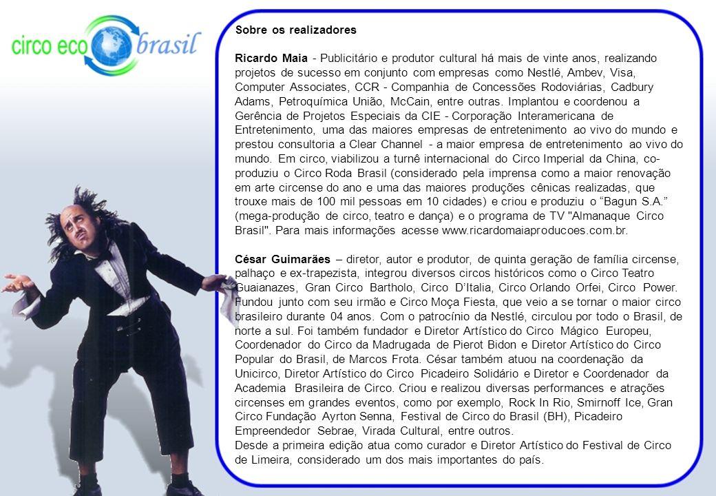 Sobre os realizadores Ricardo Maia - Publicitário e produtor cultural há mais de vinte anos, realizando projetos de sucesso em conjunto com empresas c