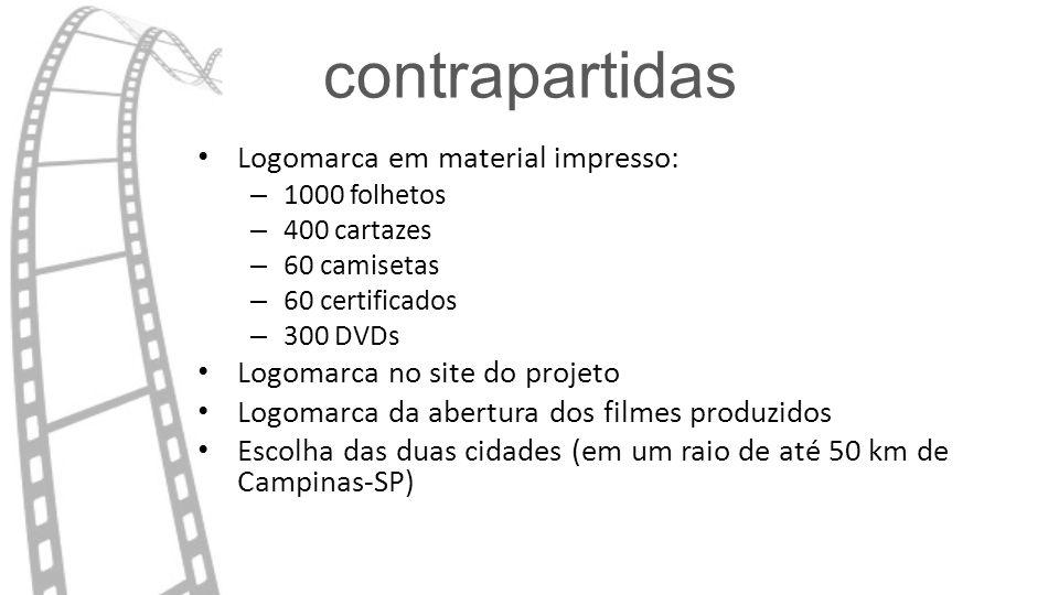 contrapartidas Logomarca em material impresso: – 1000 folhetos – 400 cartazes – 60 camisetas – 60 certificados – 300 DVDs Logomarca no site do projeto