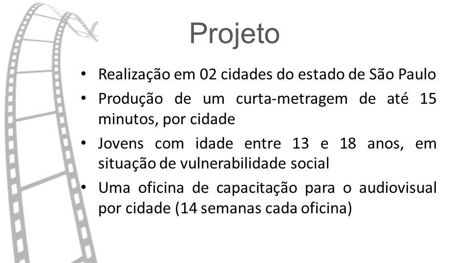 Projeto Realização em 02 cidades do estado de São Paulo Produção de um curta-metragem de até 15 minutos, por cidade Jovens com idade entre 13 e 18 anos, em situação de vulnerabilidade social Uma oficina de capacitação para o audiovisual por cidade (14 semanas cada oficina)