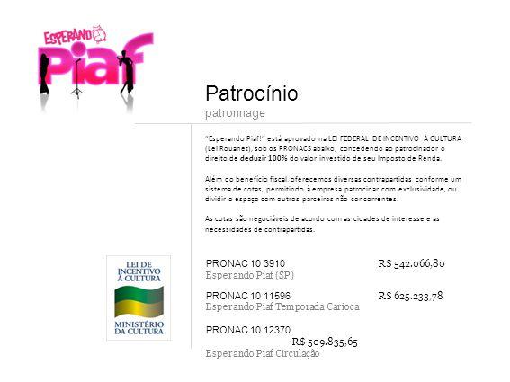 Esperando Piaf! está aprovado na LEI FEDERAL DE INCENTIVO À CULTURA (Lei Rouanet), sob os PRONACS abaixo, concedendo ao patrocinador o direito de dedu