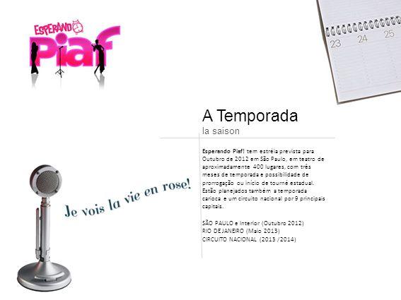 A Temporada la saison Esperando Piaf! tem estréia prevista para Outubro de 2012 em São Paulo, em teatro de aproximadamente 400 lugares, com três meses