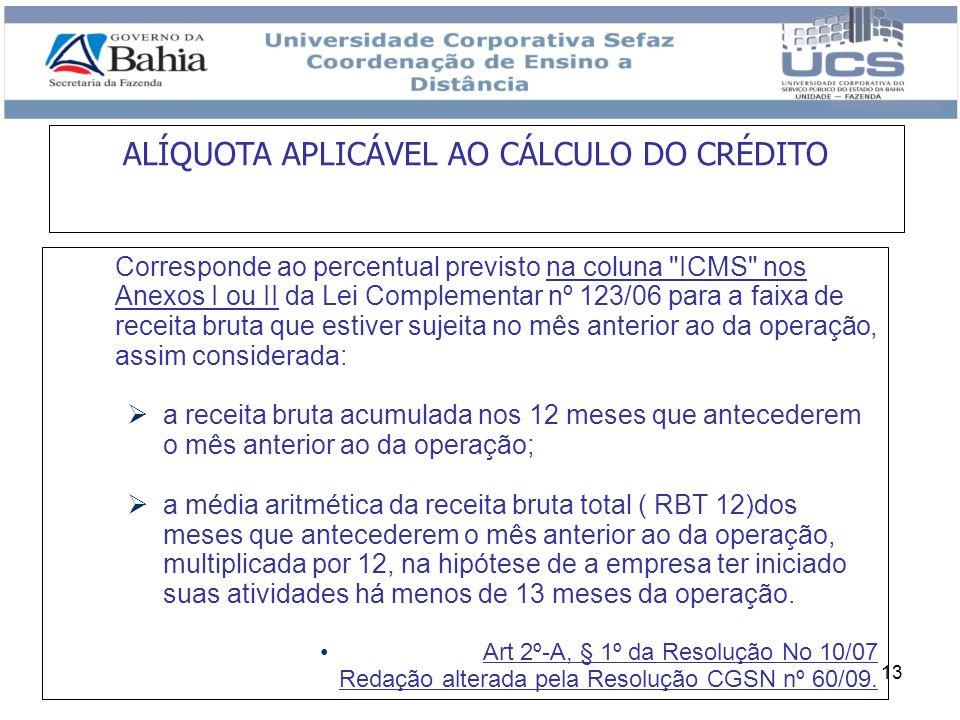 13 ALÍQUOTA APLICÁVEL AO CÁLCULO DO CRÉDITO Corresponde ao percentual previsto na coluna
