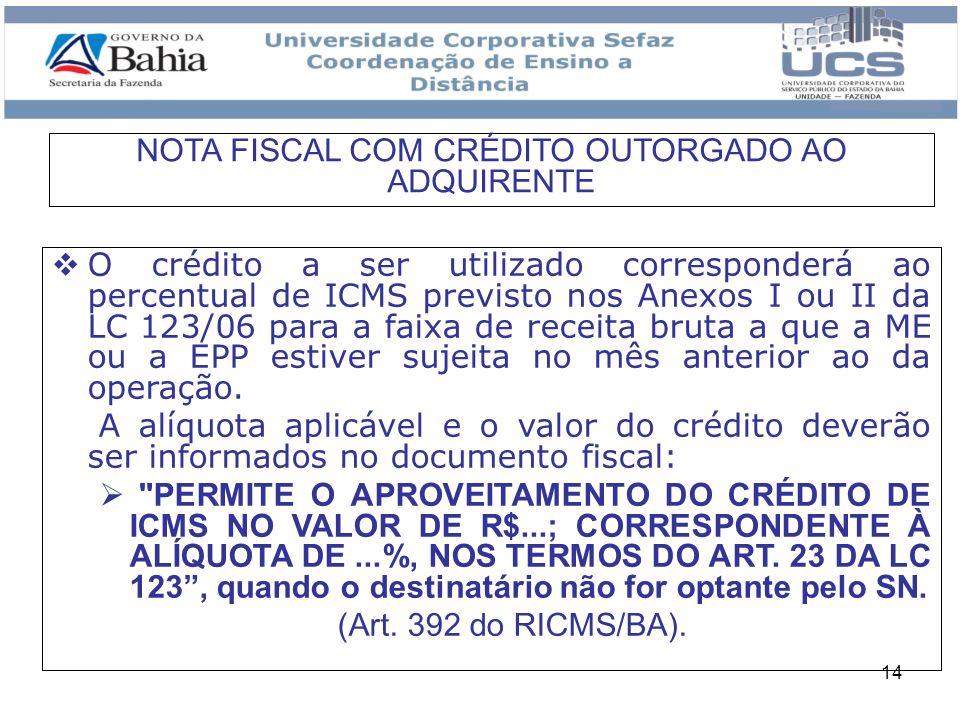 14 O crédito a ser utilizado corresponderá ao percentual de ICMS previsto nos Anexos I ou II da LC 123/06 para a faixa de receita bruta a que a ME ou