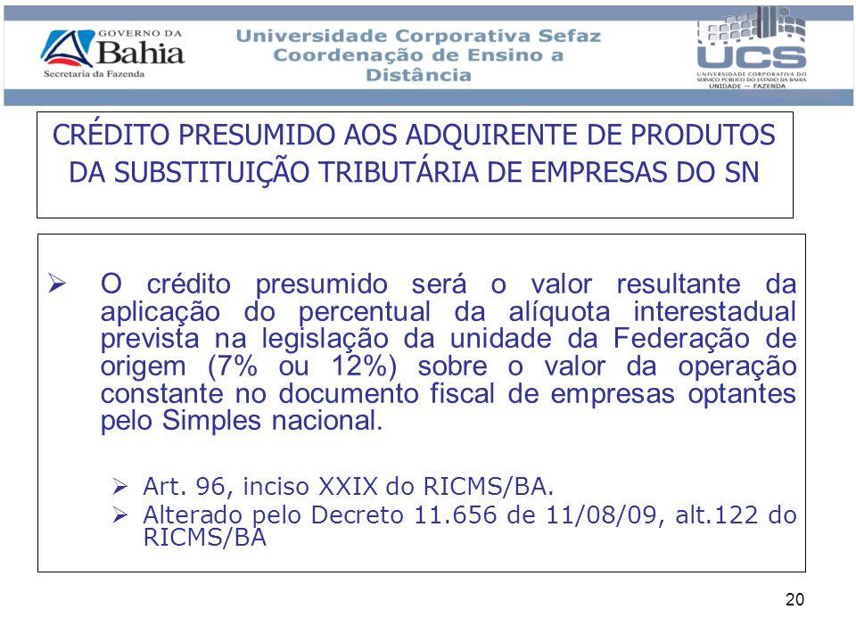20 O crédito presumido será o valor resultante da aplicação do percentual da alíquota interestadual prevista na legislação da unidade da Federação de