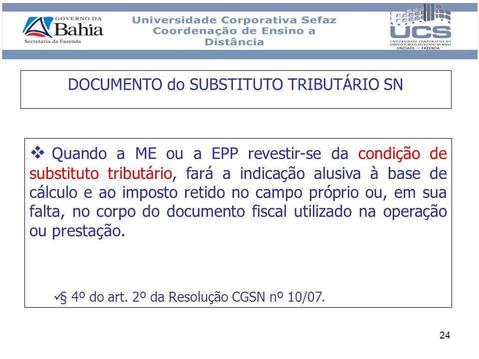 24 Quando a ME ou a EPP revestir-se da condição de substituto tributário, fará a indicação alusiva à base de cálculo e ao imposto retido no campo próp