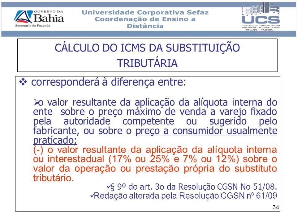 34 corresponderá à diferença entre: o valor resultante da aplicação da alíquota interna do ente sobre o preço máximo de venda a varejo fixado pela aut