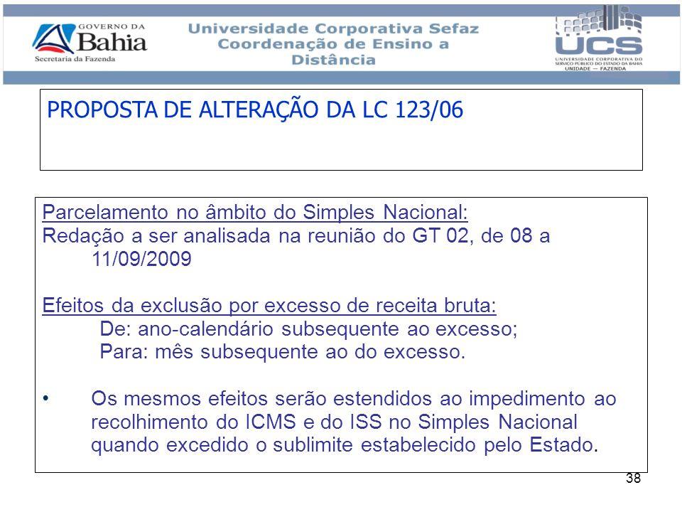 38 Parcelamento no âmbito do Simples Nacional: Redação a ser analisada na reunião do GT 02, de 08 a 11/09/2009 Efeitos da exclusão por excesso de rece