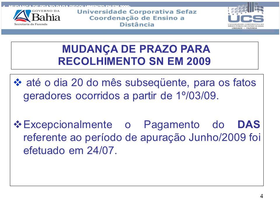 4 até o dia 20 do mês subseqüente, para os fatos geradores ocorridos a partir de 1º/03/09. Excepcionalmente o Pagamento do DAS referente ao período de