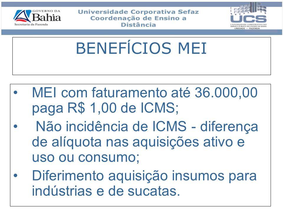 BENEF Í CIOS MEI MEI com faturamento até 36.000,00 paga R$ 1,00 de ICMS; Não incidência de ICMS - diferença de alíquota nas aquisições ativo e uso ou