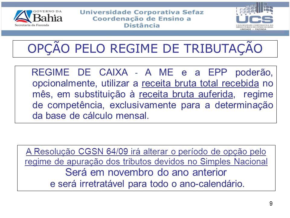 9 REGIME DE CAIXA - A ME e a EPP poderão, opcionalmente, utilizar a receita bruta total recebida no mês, em substituição à receita bruta auferida, reg