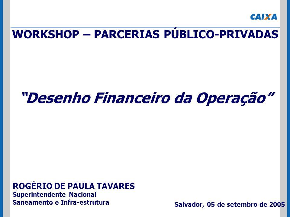 WORKSHOP – PARCERIAS PÚBLICO-PRIVADAS Desenho Financeiro da Operação ROGÉRIO DE PAULA TAVARES Superintendente Nacional Saneamento e Infra-estrutura Sa