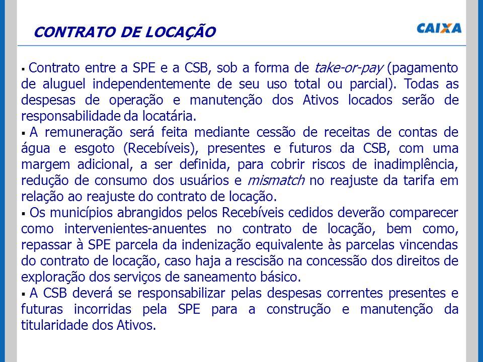 CONTRATO DE LOCAÇÃO Contrato entre a SPE e a CSB, sob a forma de take-or-pay (pagamento de aluguel independentemente de seu uso total ou parcial). Tod