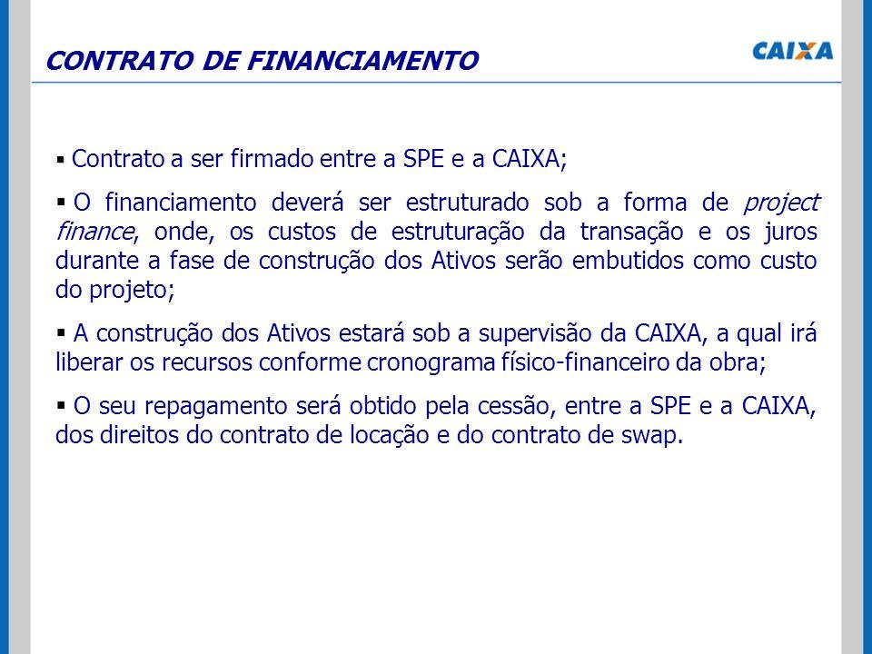 CONTRATO DE FINANCIAMENTO Contrato a ser firmado entre a SPE e a CAIXA; O financiamento deverá ser estruturado sob a forma de project finance, onde, o
