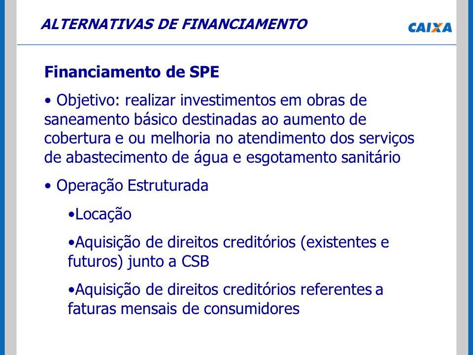 ALTERNATIVAS DE FINANCIAMENTO Financiamento de SPE Objetivo: realizar investimentos em obras de saneamento básico destinadas ao aumento de cobertura e