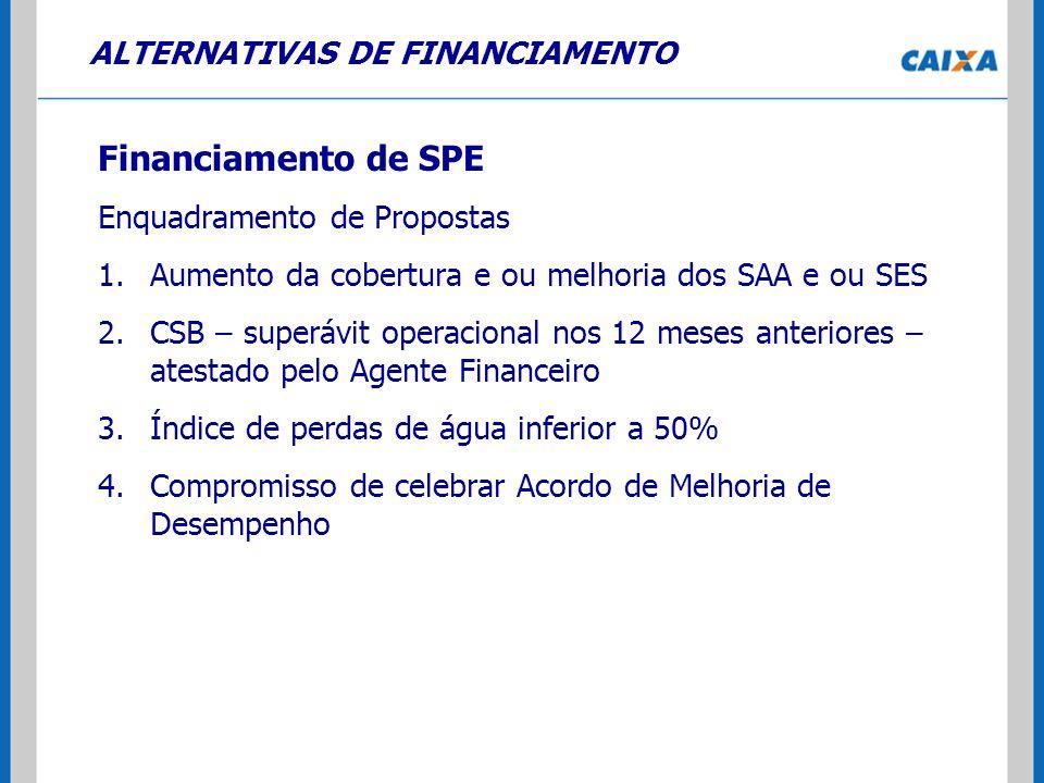 ALTERNATIVAS DE FINANCIAMENTO Financiamento de SPE Enquadramento de Propostas 1.Aumento da cobertura e ou melhoria dos SAA e ou SES 2.CSB – superávit