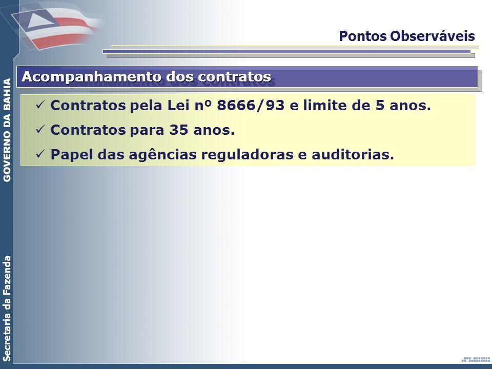 Secretaria da Fazenda Pontos Observáveis Acompanhamento dos contratos Contratos pela Lei nº 8666/93 e limite de 5 anos. Contratos para 35 anos. Papel