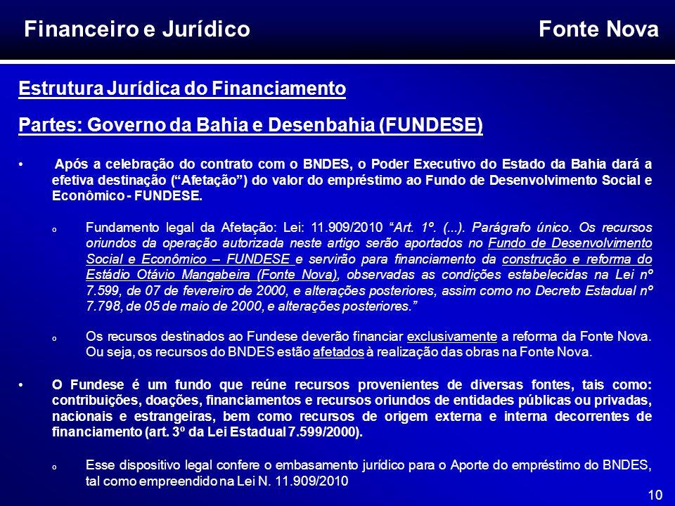 Fonte Nova 10 Financeiro e Jurídico Estrutura Jurídica do Financiamento Partes: Governo da Bahia e Desenbahia (FUNDESE) Após a celebração do contrato