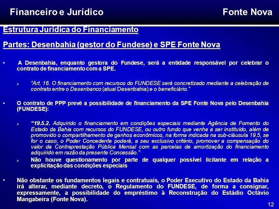 Fonte Nova 12 Financeiro e Jurídico Estrutura Jurídica do Financiamento Partes: Desenbahia (gestor do Fundese) e SPE Fonte Nova A Desenbahia, enquanto