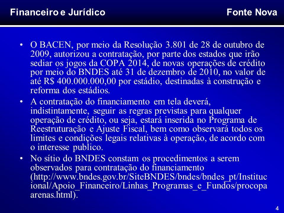 Fonte Nova 4 O BACEN, por meio da Resolução 3.801 de 28 de outubro de 2009, autorizou a contratação, por parte dos estados que irão sediar os jogos da
