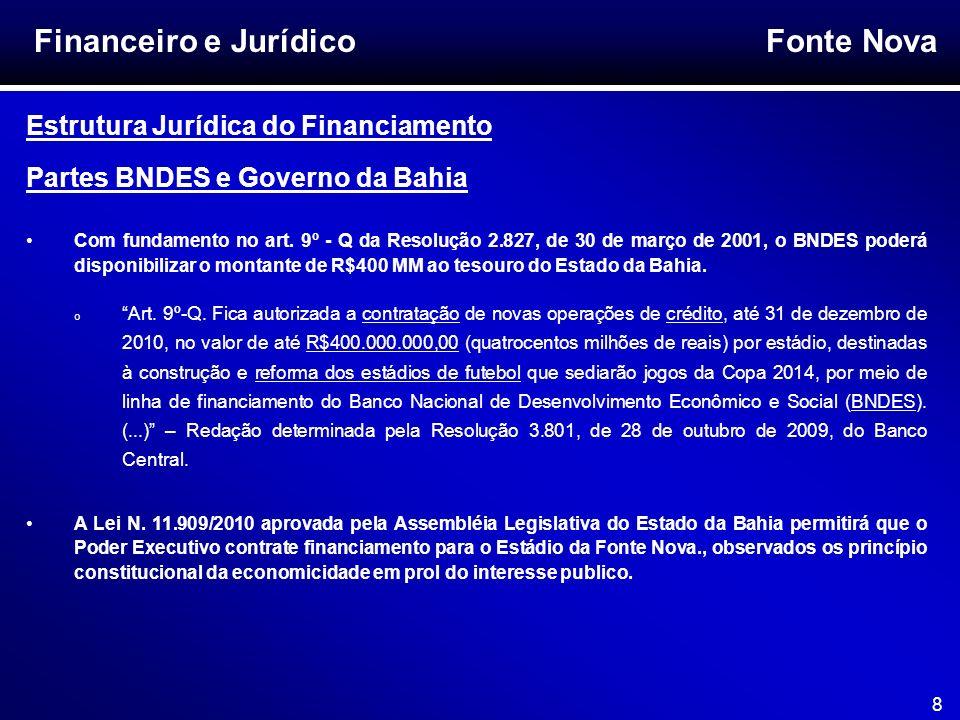 Fonte Nova 8 Financeiro e Jurídico Estrutura Jurídica do Financiamento Partes BNDES e Governo da Bahia Com fundamento no art. 9º - Q da Resolução 2.82