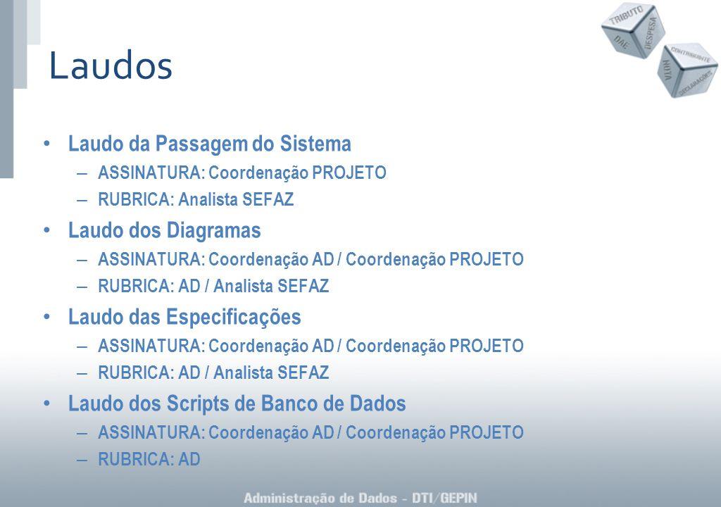 Laudo da Passagem do Sistema – ASSINATURA: Coordenação PROJETO – RUBRICA: Analista SEFAZ Laudo dos Diagramas – ASSINATURA: Coordenação AD / Coordenaçã
