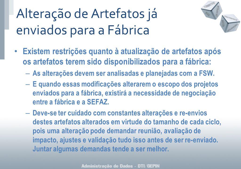 Existem restrições quanto à atualização de artefatos após os artefatos terem sido disponibilizados para a fábrica: – As alterações devem ser analisada