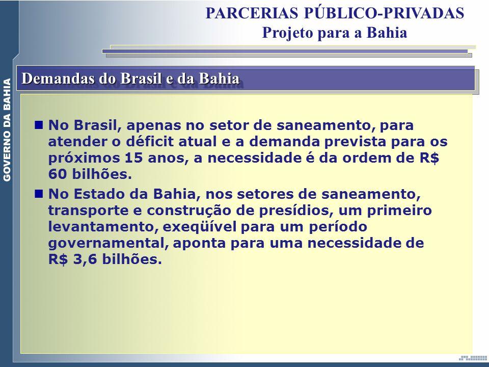 Demandas do Brasil e da Bahia PARCERIAS PÚBLICO-PRIVADAS Projeto para a Bahia No Brasil, apenas no setor de saneamento, para atender o déficit atual e