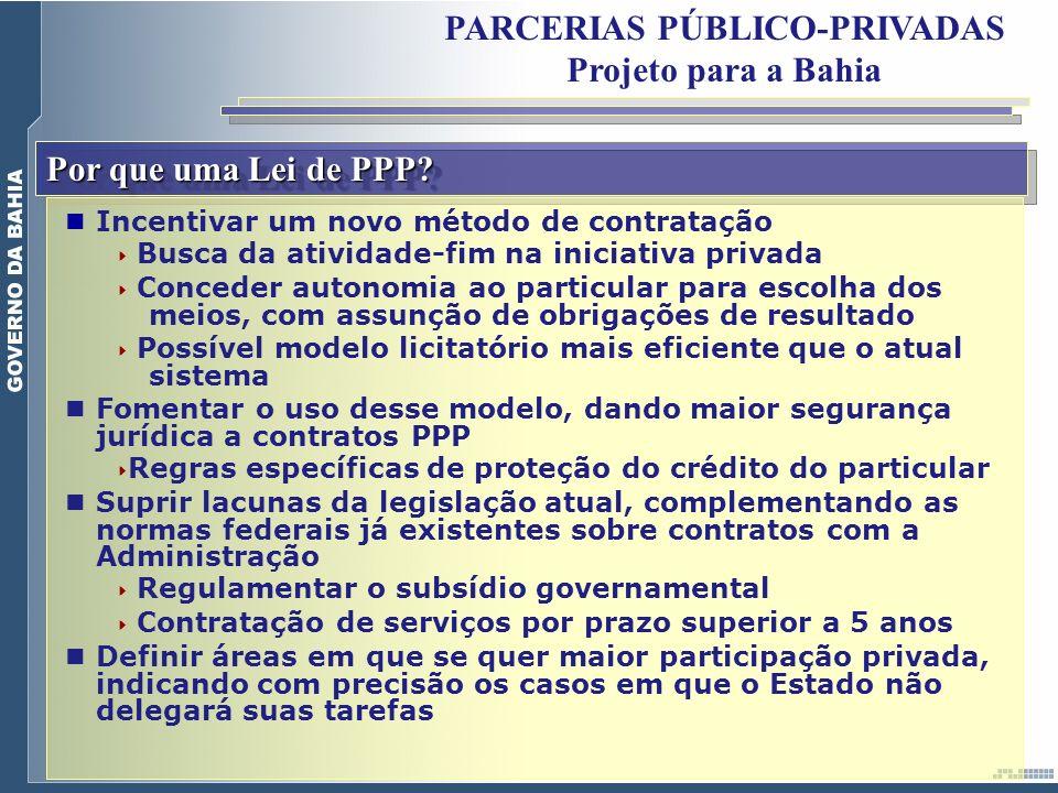 Por que uma Lei de PPP? Incentivar um novo método de contratação Busca da atividade-fim na iniciativa privada Conceder autonomia ao particular para es