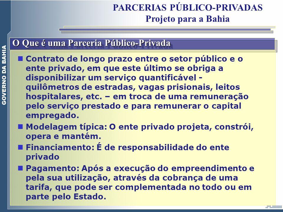 O Que é uma Parceria Público-Privada PARCERIAS PÚBLICO-PRIVADAS Projeto para a Bahia Contrato de longo prazo entre o setor público e o ente privado, e