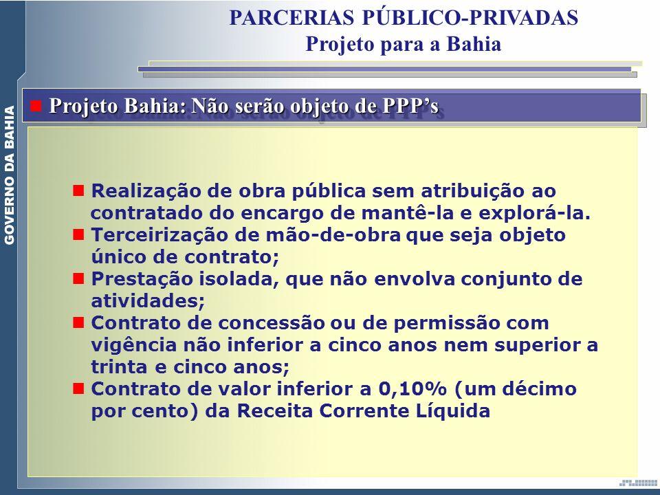 Projeto Bahia: Não serão objeto de PPPs Realização de obra pública sem atribuição ao contratado do encargo de mantê-la e explorá-la. Terceirização de