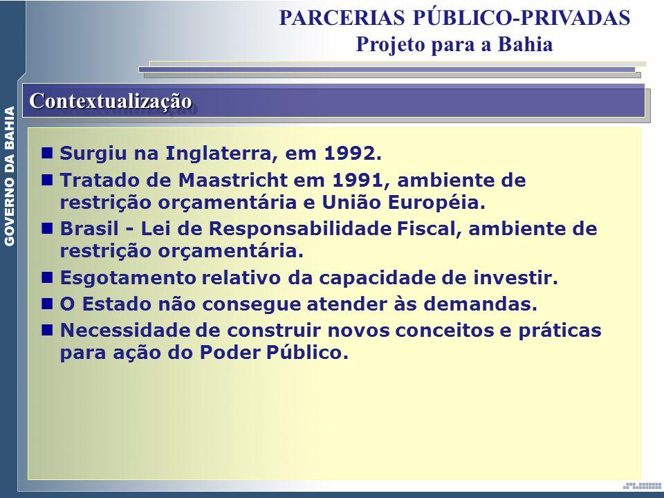 ContextualizaçãoContextualização PARCERIAS PÚBLICO-PRIVADAS Projeto para a Bahia Surgiu na Inglaterra, em 1992. Tratado de Maastricht em 1991, ambient