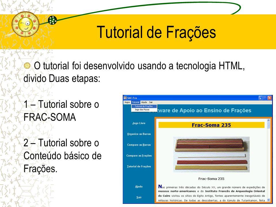 Tutorial de Frações O tutorial foi desenvolvido usando a tecnologia HTML, divido Duas etapas: 1 – Tutorial sobre o FRAC-SOMA 2 – Tutorial sobre o Cont