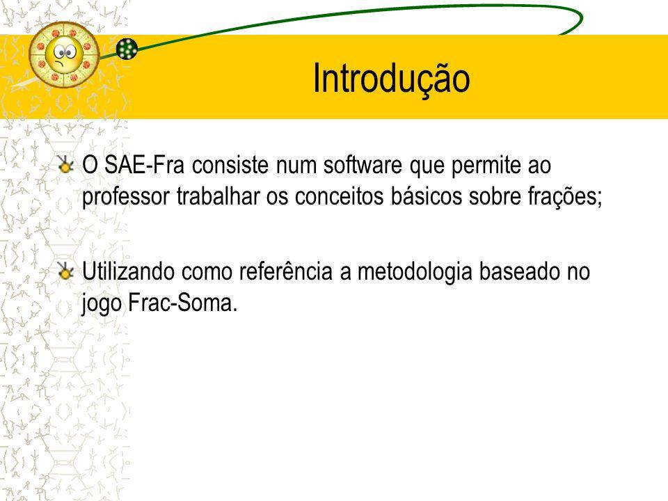 Introdução O SAE-Fra consiste num software que permite ao professor trabalhar os conceitos básicos sobre frações; Utilizando como referência a metodol