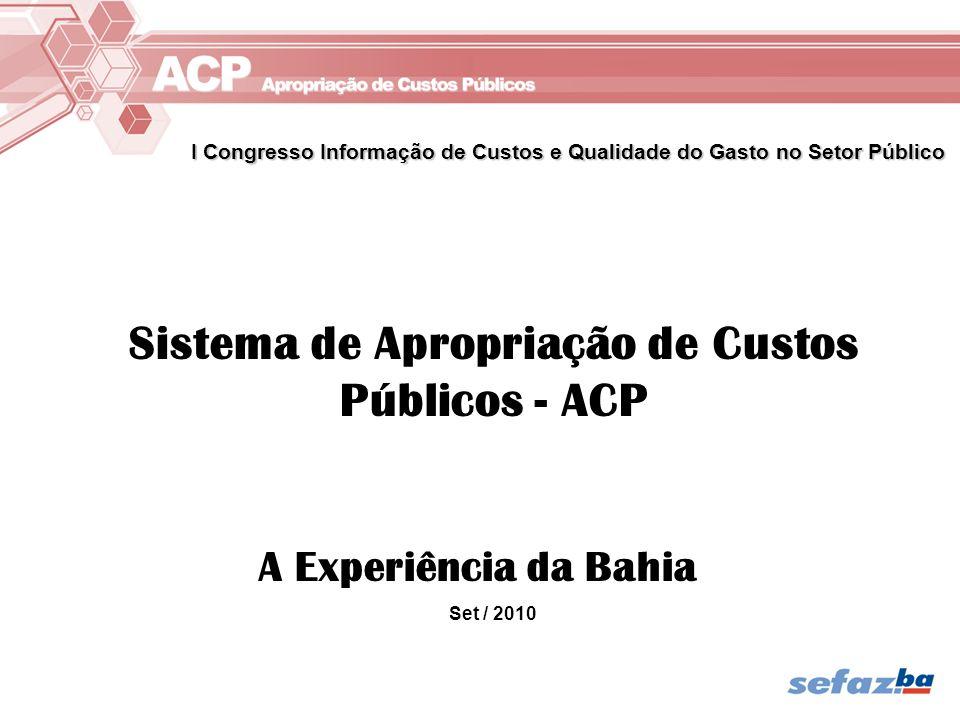 Sistema de Apropriação de Custos Públicos - ACP A Experiência da Bahia Set / 2010 I Congresso Informação de Custos e Qualidade do Gasto no Setor Públi