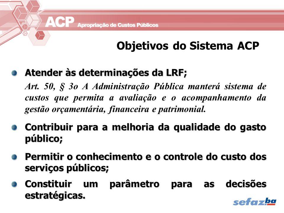 Atender às determinações da LRF; Art. 50, § 3o A Administração Pública manterá sistema de custos que permita a avaliação e o acompanhamento da gestão