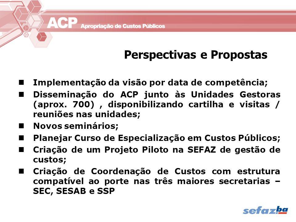 Implementação da visão por data de competência; Disseminação do ACP junto às Unidades Gestoras (aprox. 700), disponibilizando cartilha e visitas / reu