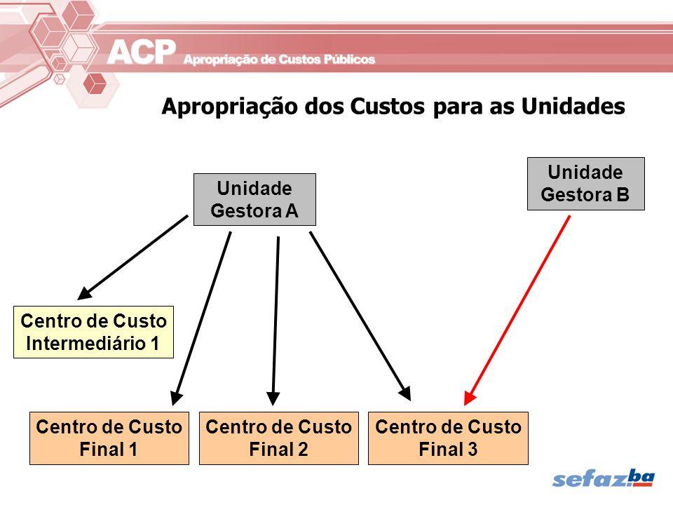 Apropriação dos Custos para as Unidades Unidade Gestora A Centro de Custo Intermediário 1 Centro de Custo Final 1 Centro de Custo Final 2 Centro de Cu