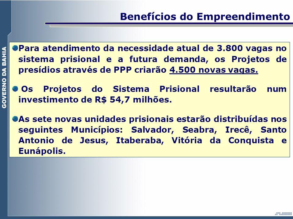 Para atendimento da necessidade atual de 3.800 vagas no sistema prisional e a futura demanda, os Projetos de presídios através de PPP criarão 4.500 no