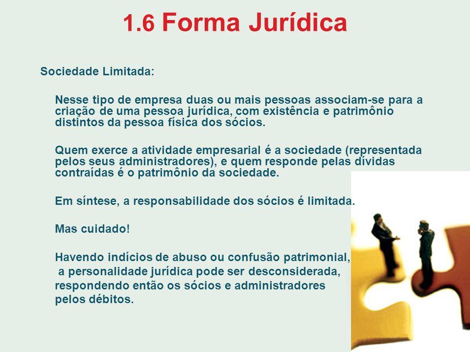 1.6 Forma Jurídica Sociedade Limitada: Nesse tipo de empresa duas ou mais pessoas associam-se para a criação de uma pessoa jurídica, com existência e