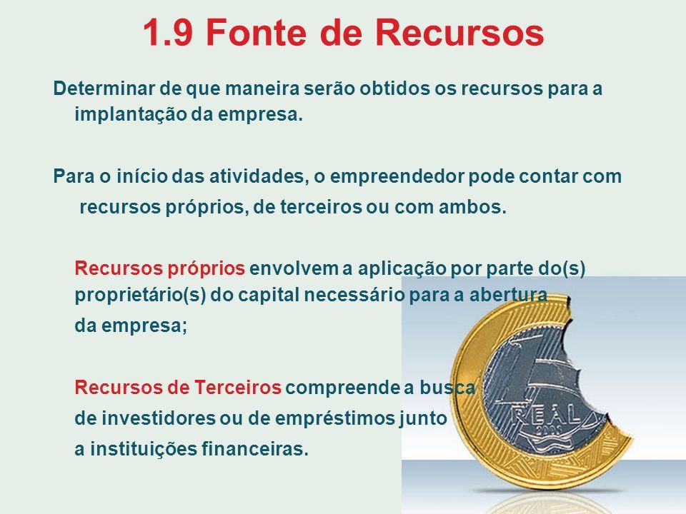 1.9 Fonte de Recursos Determinar de que maneira serão obtidos os recursos para a implantação da empresa. Para o início das atividades, o empreendedor