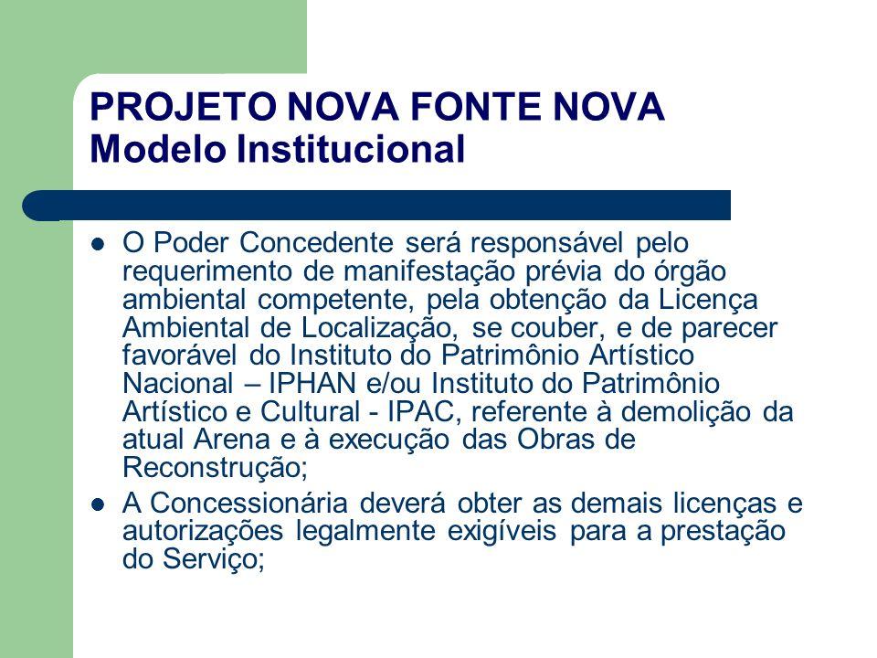 PROJETO NOVA FONTE NOVA Modelo Institucional O Poder Concedente será responsável pelo requerimento de manifestação prévia do órgão ambiental competent