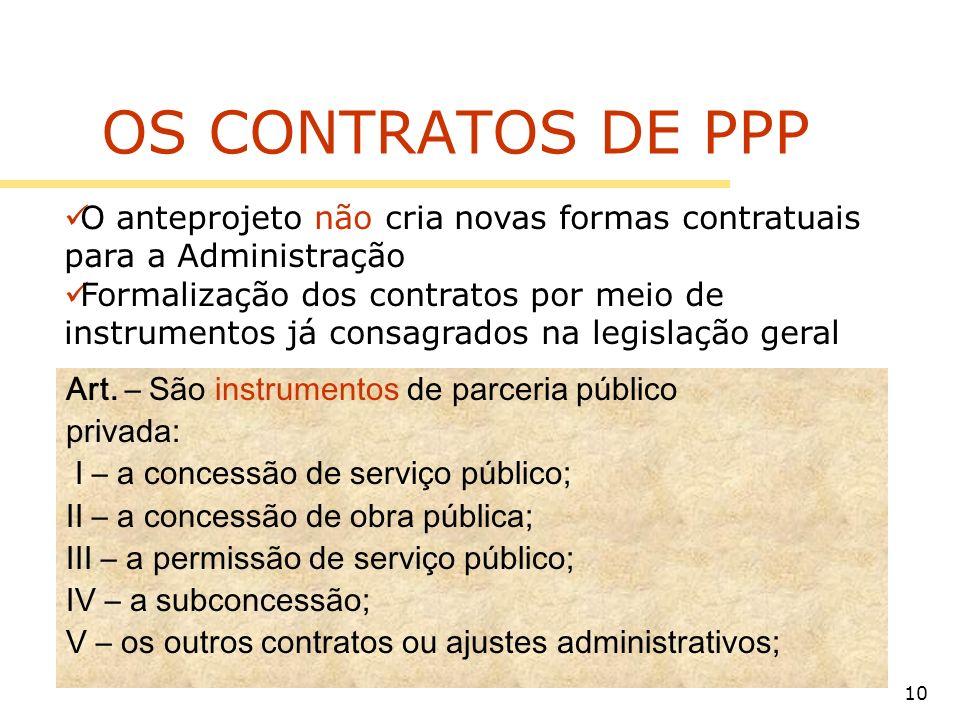 10 OS CONTRATOS DE PPP Art. – São instrumentos de parceria público privada: I – a concessão de serviço público; II – a concessão de obra pública; III